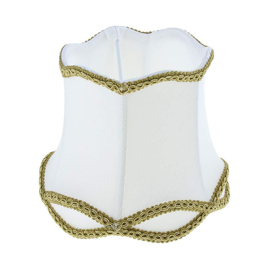 Fenteer Lampe Suspension Industrielle Vintage Light en Tissu avec Abat-Jour Blanc Champagne