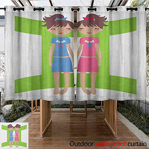 - AndyTours Doorway Curtain,Zodiac Gemini,Green Sign Background with Twin Girl Cartoon Characters for Teens and Kids,Great for Living Rooms & Bedrooms,K140C160 Multicolor