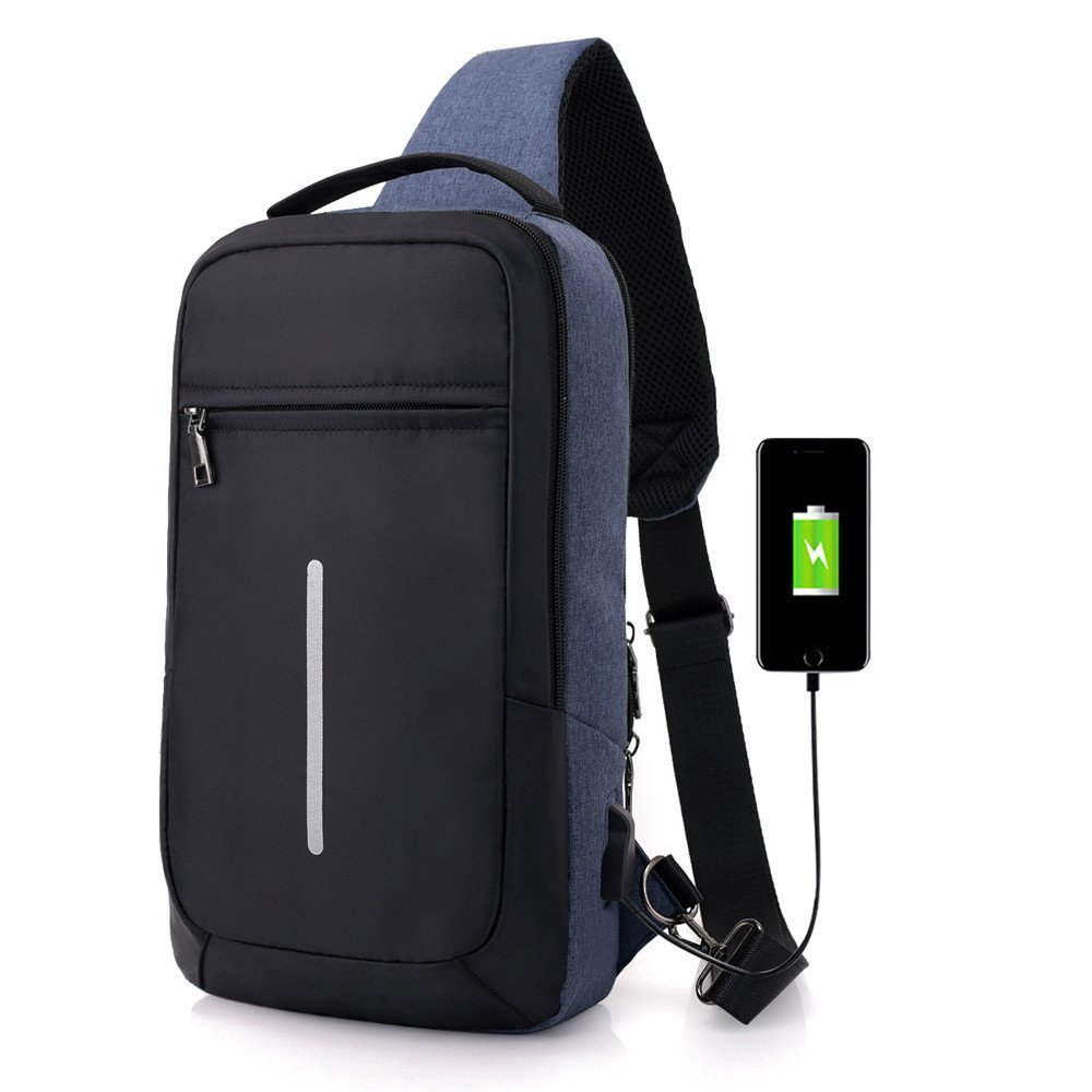 Luca-backpack USB Charge Shoulder Bag For Business Men Chest pack Sling Messenger Back Crossbody Sport Chest Bag (Blue, 19X9X36cm)
