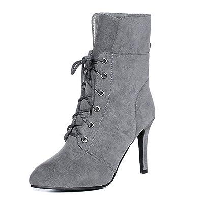 Aisun Damen Fashion Rund Zehen Kurzschaft Stiefel Schnürboots Stiefeletten Mit Reißverschluss Grau 39 EU tBQORzTM2T