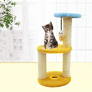 Gato Tres Capas Actividad Árbol Mascota Grande Desct Trampolín Juguete con Cubierta De Sisal Publicaciones De Rascado Torre Gatito Mueble Jugar Casa.
