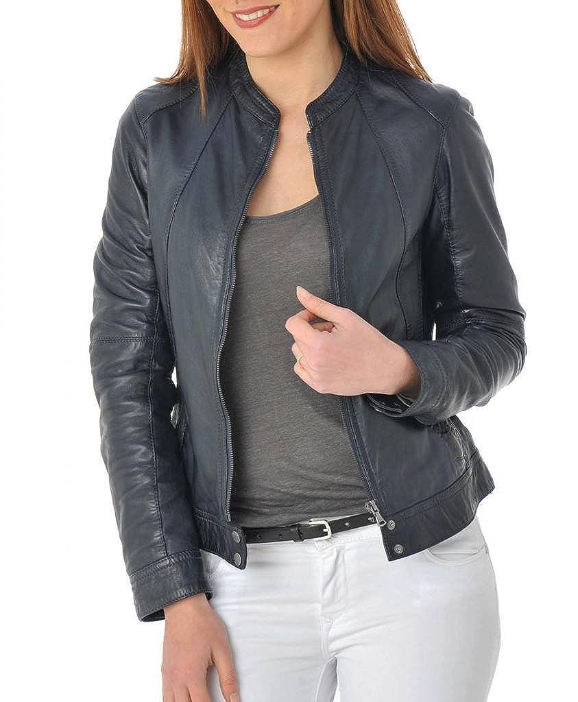 bluee Leather Scan Women's Lambskin Leather Moto Bomber Biker Jacket