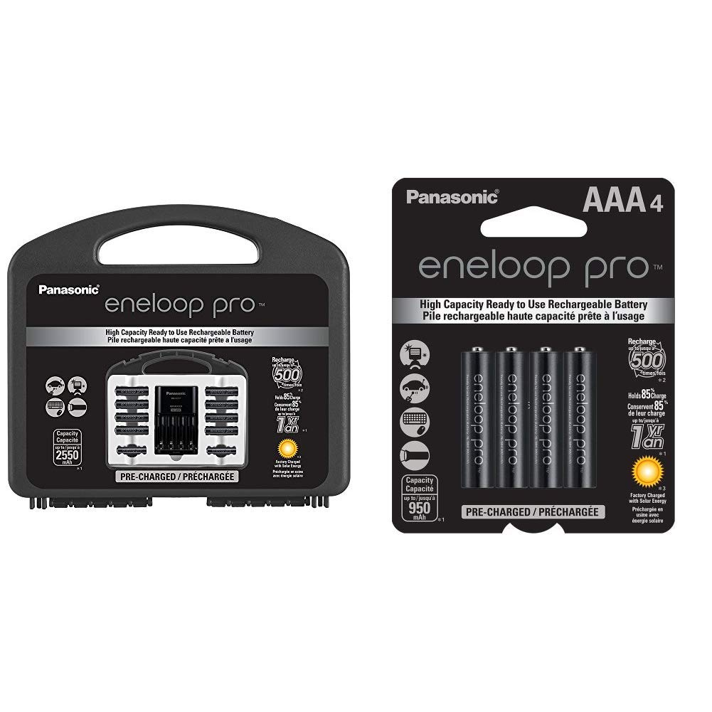 Panasonic eneloop pro High Capacity Power Pack, 8AA, 2AAA, with''Advanced'' Individual Battery Charger and Plastic Storage Case & eneloop pro AAA High Capacity Ni-MH Pre-Charged Rechargeable Batteries