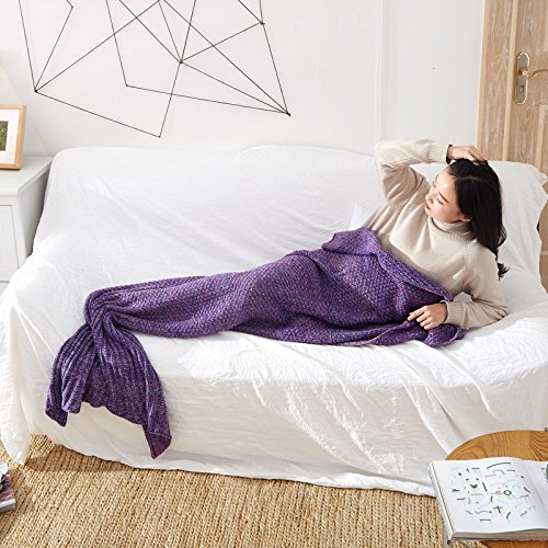 La petite sirène de couvertures de la queue de l'automne et l'hiver adultes climatisation salon tricot couverture à la fin de la chaude poisson ,80x180cm violet foncé, adultes