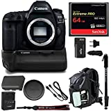 Canon EOS 5D Mark IV Professional Digital Camera: 30 Megapixel 4K video DSLR Bundle with Canon BG-E20 Battery Grip 64GB SD Card Backpack & Double Battery With Charger - Photography & Travel Bundle