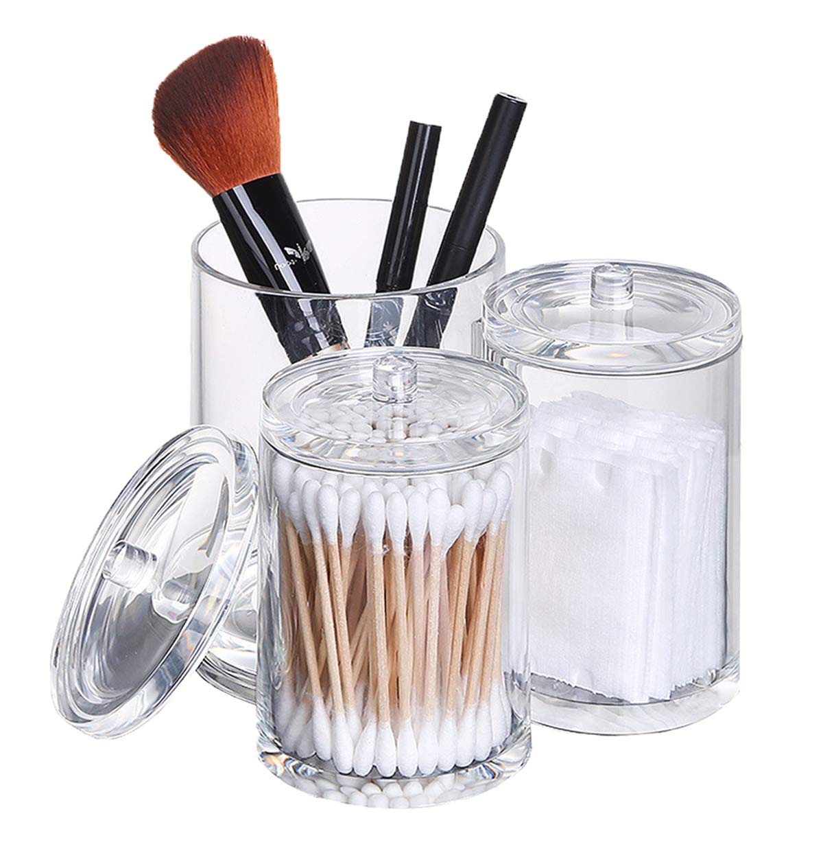 Selighting Makeup Brush Holder Organizer Acrylic Clear Cotton Ball Swab Holder Round Dispenser Bathroom Organization Cosmetic Containers Plastic Apothecary Jars with Lids (Transparent, Trio Cup)