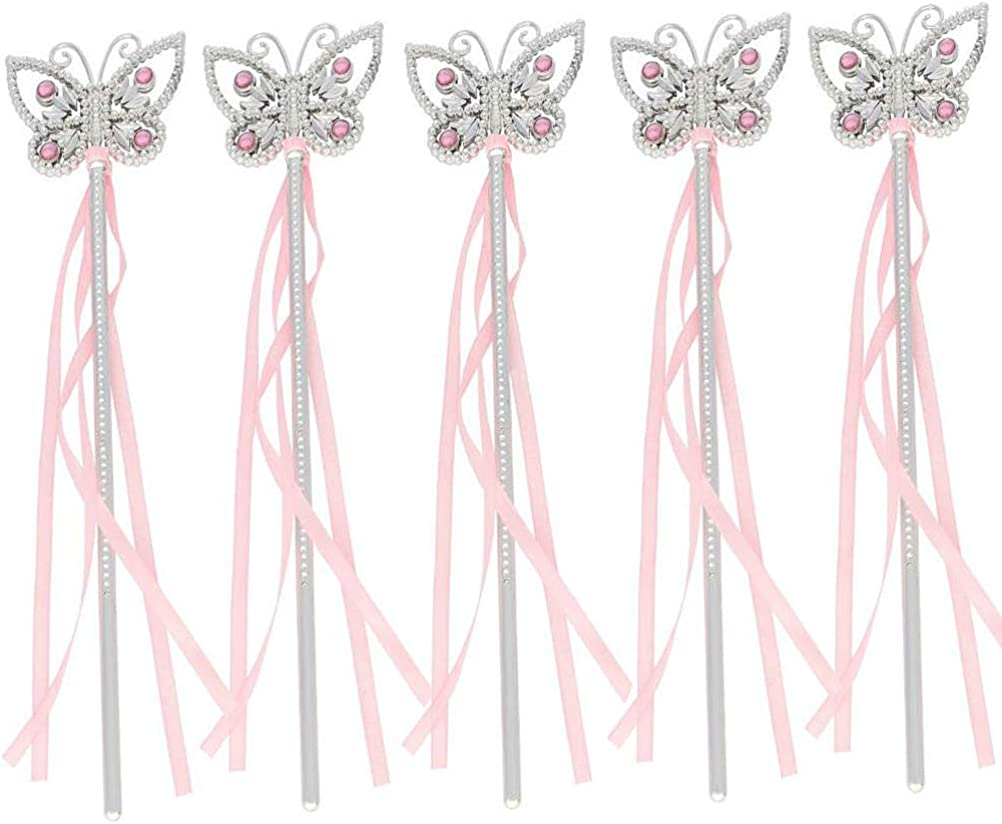 Tvoip 5Pcs 13 Inches Butterfly Princess Fairy Wand Girls Magic Ribbons Wands Streamers Costume Fancy Dress Props Pink Bachelor Party Favor