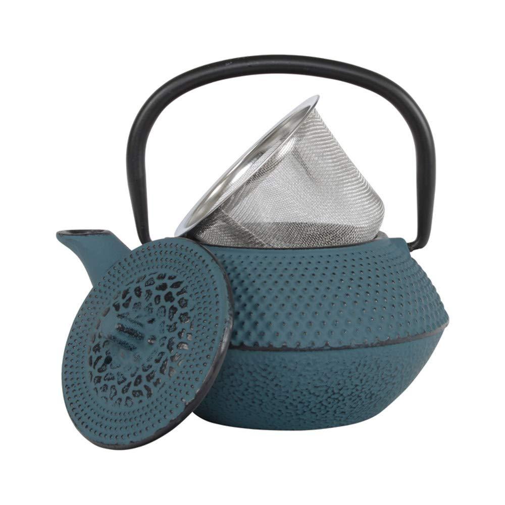 Prepara una Taza Dise/ño de Clavos Estilo Japon/és Interior Totalmente Esmaltado Teal/øv Arare Tetera Hierro Tetera de Hierro Fundido con Infusor de Acero Inoxidable 350 ml, Azul