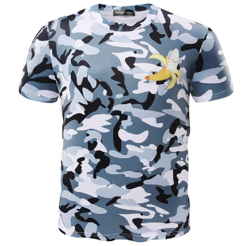Vska Men Thin Short-Sleeve Round Collar Camo Loose Tees