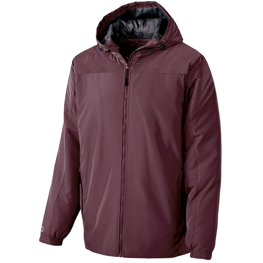 Holloway Youth Bionic Hooded Jacket (Medium, Maroon/Carbon) by Holloway