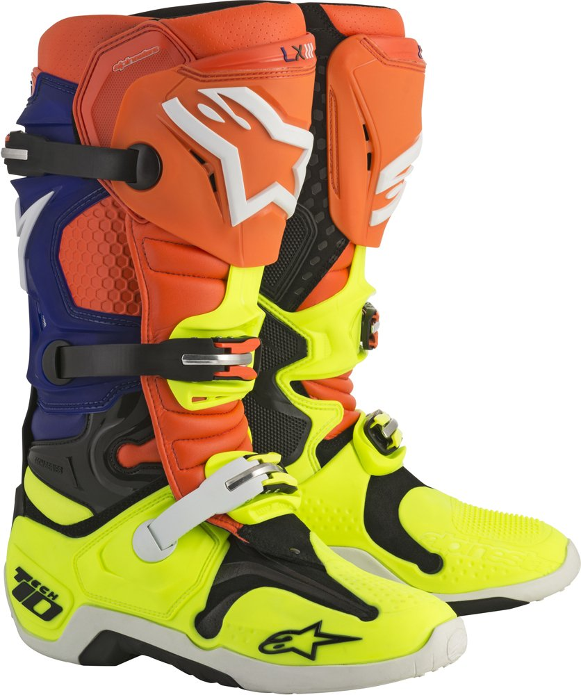 Alpinestars Tech 10 Boots, Orange/Blue/White
