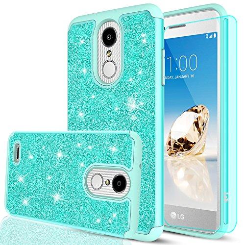 LG Aristo 2 Plus Case,LG Aristo 2/Tribute Dynasty/Zone 4/Fortune 2/Risio 3/Rebel 3 LTE/K8+ K8 Plus Case with HD Screen Protector,LeYi Glitter Girls Women Protective Case for LG K8 2018 TP Mint (Tribute Mint)