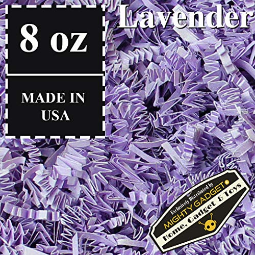 Lavender Package - Mighty Gadget (R) 1/2 LB Lavender Crinkle Cut Paper Shred Filler for Gift Wrapping & Basket Filling