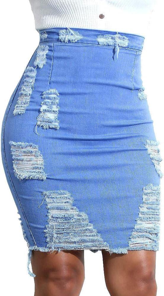 Falda de Mujer Moda de Verano Cintura Alta Ripped Denim Lápiz Apenado Mini Sexy Nuevo 2020 Jean Pack Falda de Cadera