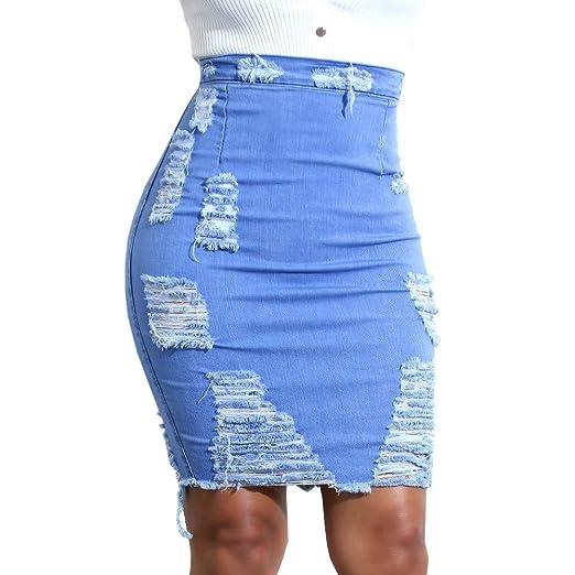 15e21aac6dcf Amazon.com: MODOQO High Waist Skirt for Women, Denim Bodycon Mini Pencil  Distressed Jean Mini Skirt: Clothing