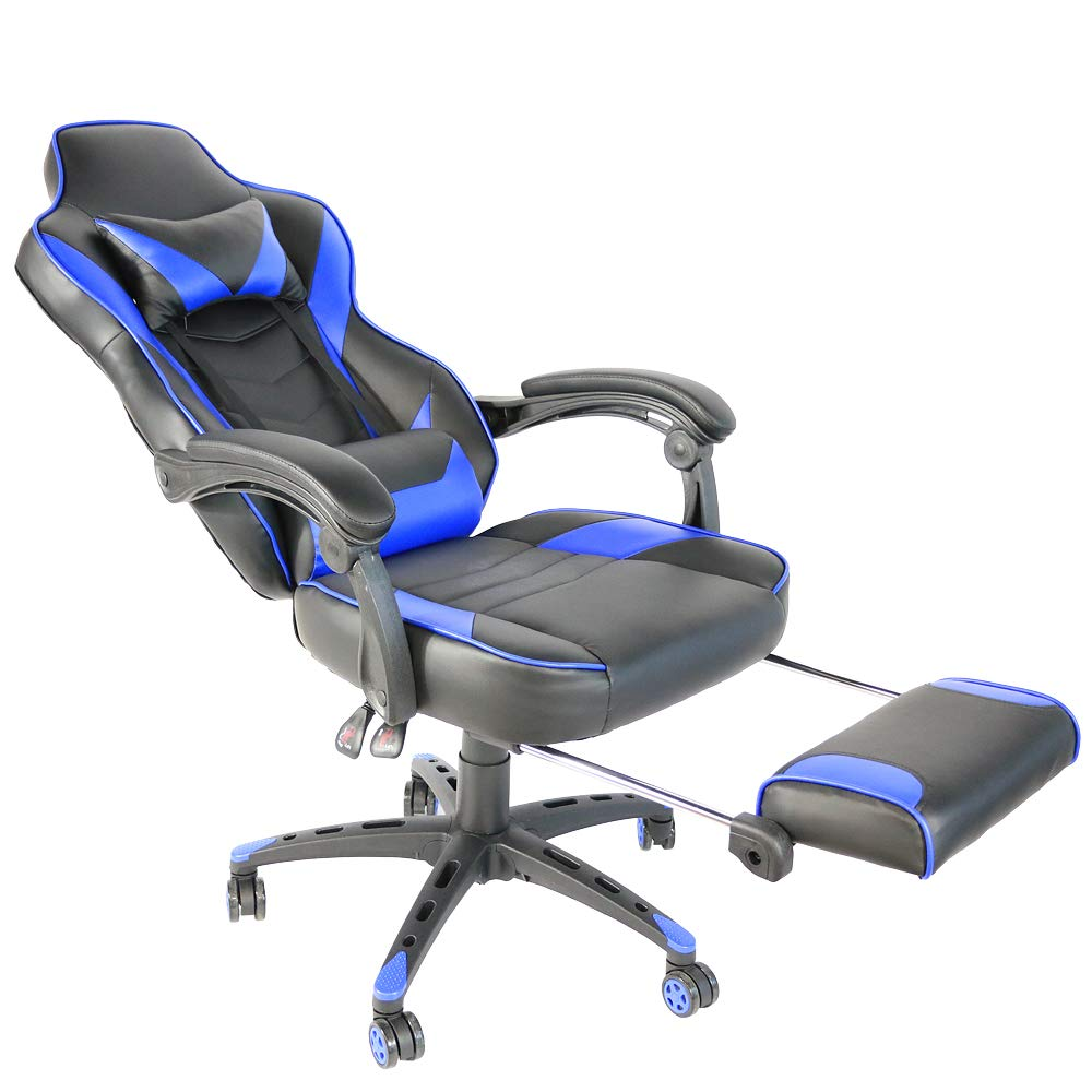 HAPPYDAY Swivel Chair,Foldable High-Back Reclining rotatable Office Desk Chair Racing Chair with footrest by HAPPYDAY