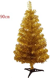 S-SSOY 3 Foot Christmas Trees Artificial Xmas Pine Tree with PVC Leg Stand Base Home Office Holiday Decoration (Gold)