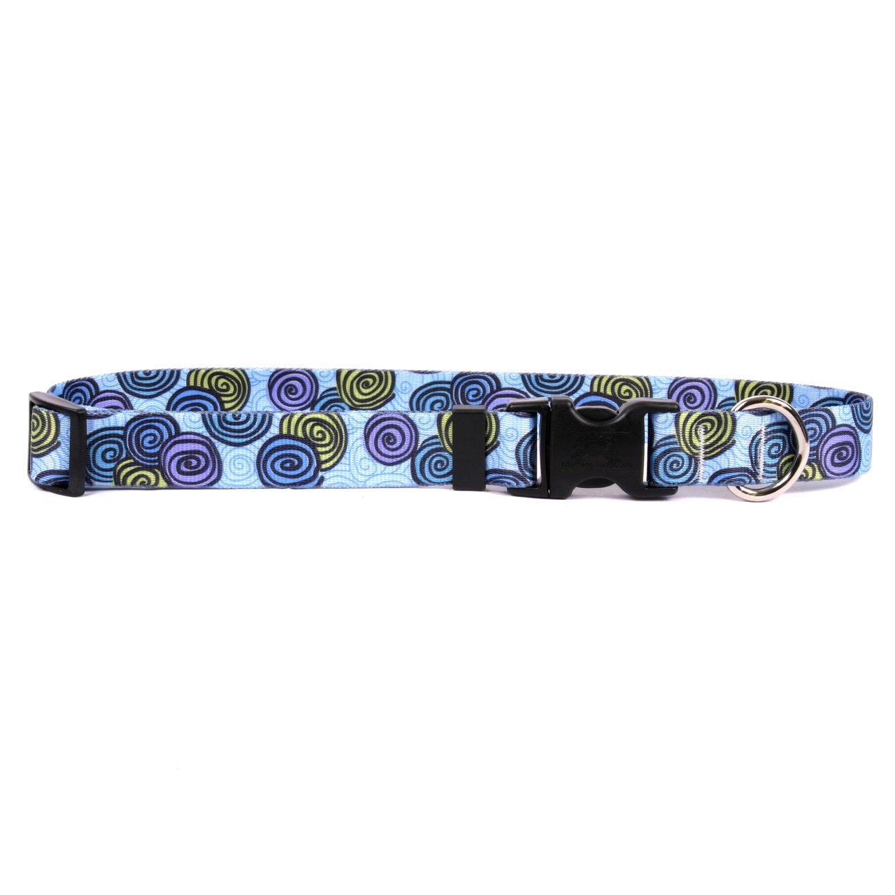 Yellow Dog Design Spirals Blue Dog Collar with Tag-A-Long ID Tag System-Small-3/4 and fits Neck 10 to 14''