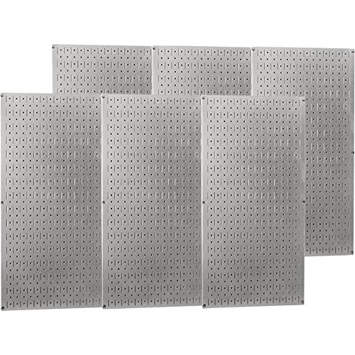 Wall Control Industrial Metal Pegboard - Galvanized Metal, Six 16in. x 32in. Panels, Model# 35-P-3296GV