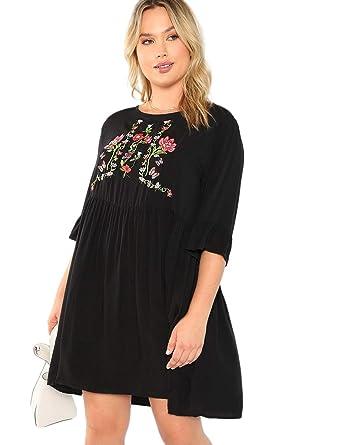 Romwe Women\'s Plus Size Ruffle Short Sleeve Floral Lace Loose Tunic ...