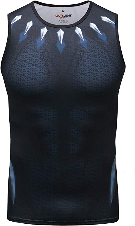 Red Plume Mens Muscle Tank Top Sleeveless T-Shirts Baselayer Tees Cool Dry Compression Shirts Running Sports Vest