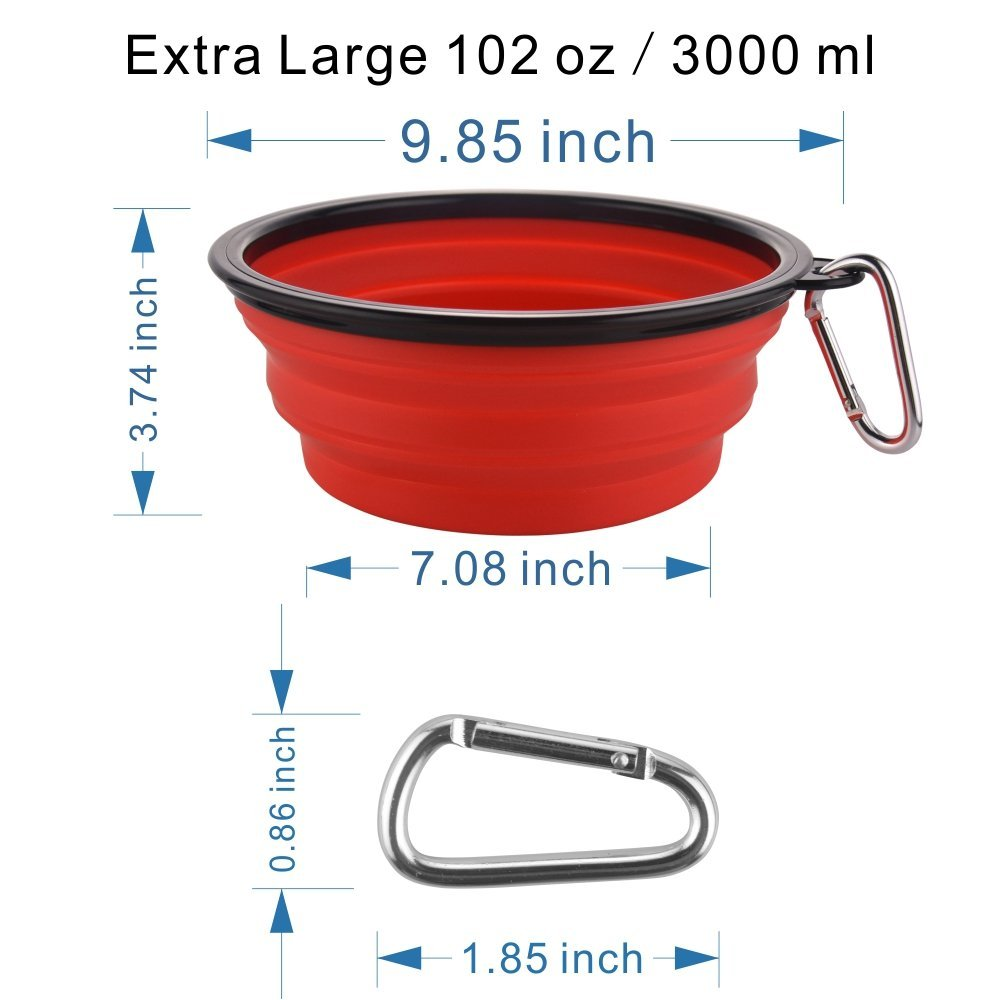 Guardians Extra Large Collapsible Dog Bowl, 102oz Portable Foldable Water Bowls Food Dishes with Carabiner Clip for Travel (Red)