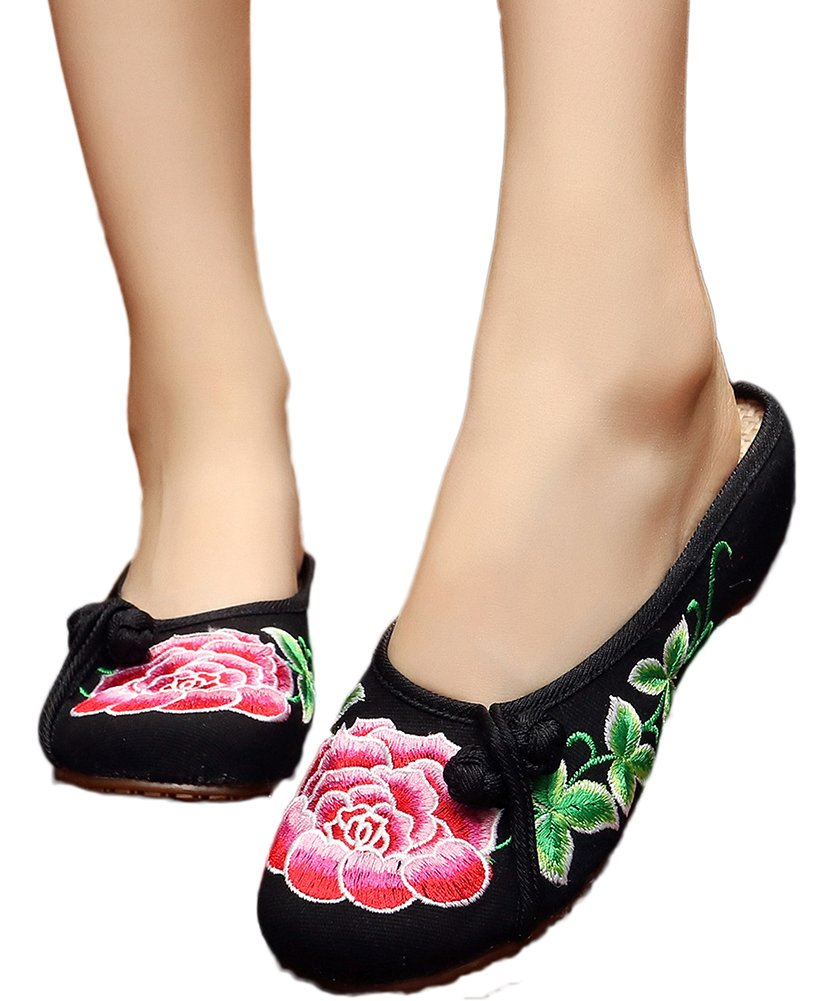 AvaCostume Womens Peony Embroidery Summer Casual Slippers Shoes Black 40