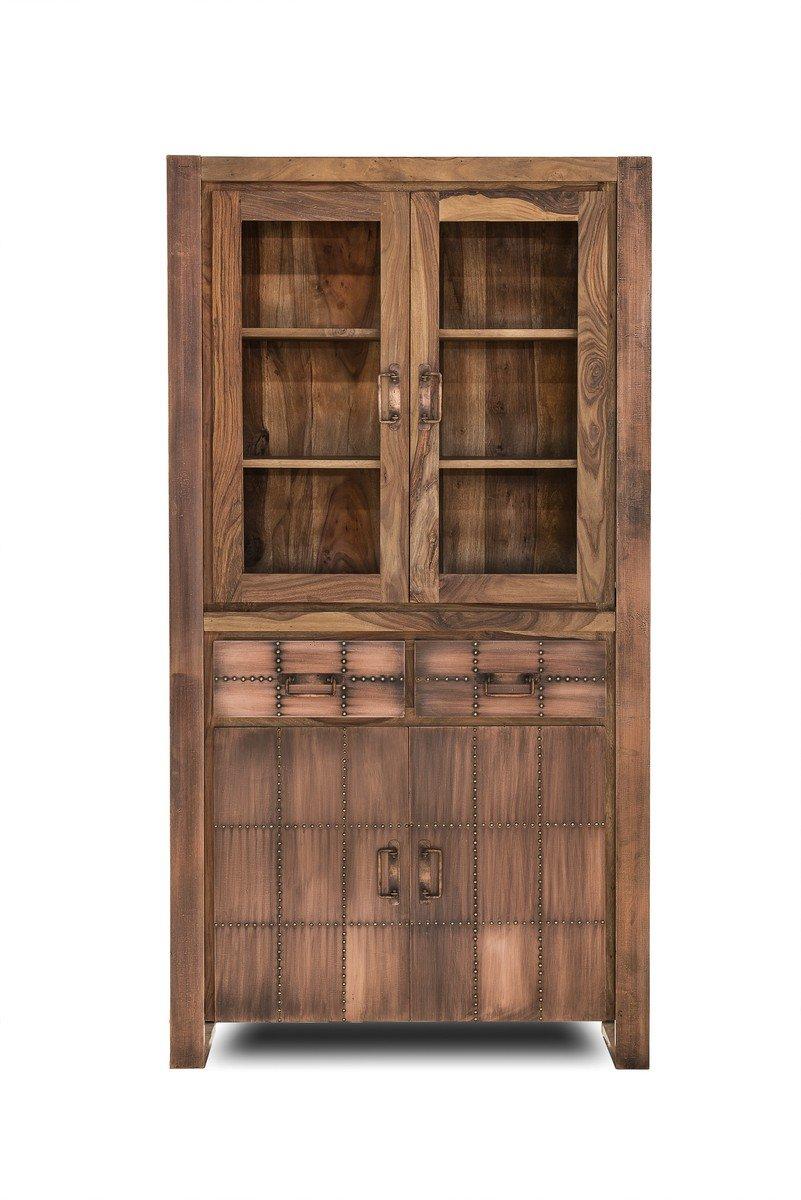 SIT-Möbel 2704-04 Vitrine Sahara, 2 Glastüren, 2 Holztüren, 2 Schubladen, oben 2, unten 1 Einlegeboden, circa 100 x 40 x 190 cm