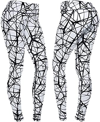 CompressionZ Women's Compression Pants (Tangled Black - L) Best Full Leggings Tights for Running, Yoga, Gym