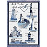 Pure Country Weavers - Lighthouses of South Carolina Cockspur Huntin Morris Island Georgetown Harbor Hags Point Woven Throw Blanket with Fringe USA Made Size 70 x 50