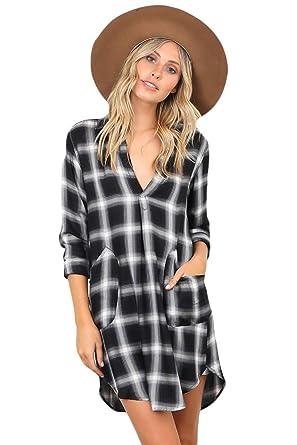 dde6ecd2e9 Samgu Robe Chemise Noire/Blanche à Carreaux pour Femmes Robe à Manches  Longues irrégulière à Carreaux Occasionnels à Carreaux Robe Style Chemise à  Carreaux: ...