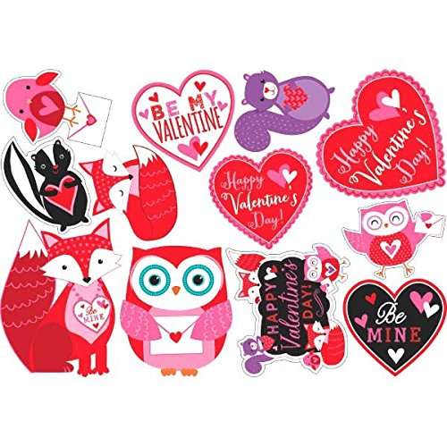 Woodland Friends Valentine's Day Printed Paper Cutouts Party Decoration , Paper, Pack of 12