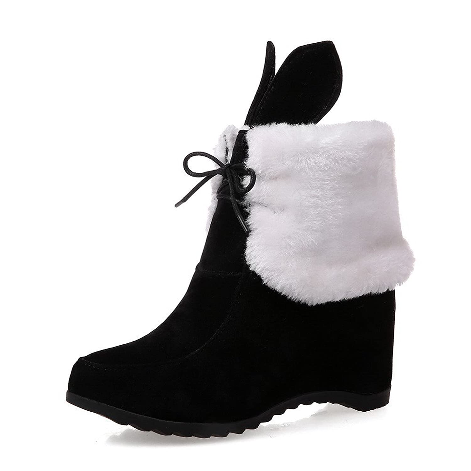 VogueZone009 Women's Solid Cow Imitated Suede Kitten Heels Lace-Up Round Closed Toe Boots