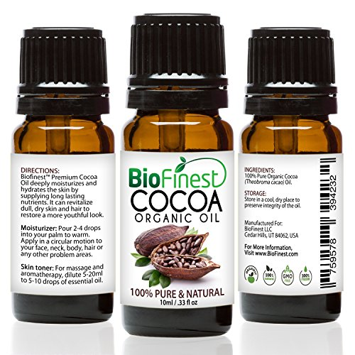 BioFinest Cocoa Organic Oil - 100% Pure Cold-Pressed - Best Moisturizer For Hair Face Skin Acne Sunburn Cuts Wrinkle Scars Eczema - Essential Magnesium, Antioxidant, Vitamin A - FREE E-Book - Usa Cap So Euro