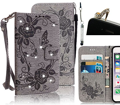 For Galaxy S7 Edge Wallet Case,Vandot 3 in 1 Set Luxury Diamond Shining Crystal Rhinestone Flower Butterfly Pattern PU Leather Magnetic Flip Stand Cover Shell for Samsung Galaxy S7 Edge SM-G935F with Detachable Wrist Strap+Bling High Heel Anti Dust Plug+Stylus Pen,Grey Gray