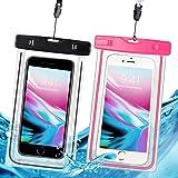 防水ケース スマホ用 防水携帯ケース IPX8規格 夜間発光 潜水 お風呂 水泳 砂浜 水遊びなど用防水携帯ケース フォンケース・カバー フローティング 【iPhone X / 8/7/6 / Plus とAndroid SAMSUNG Galaxy S8/S7 edge/SONY Xperia/HUAWEI ネックストラップ付属 各種のスマホ防水ケース6インチまで対応】- 2枚セット (黒 とピンク)
