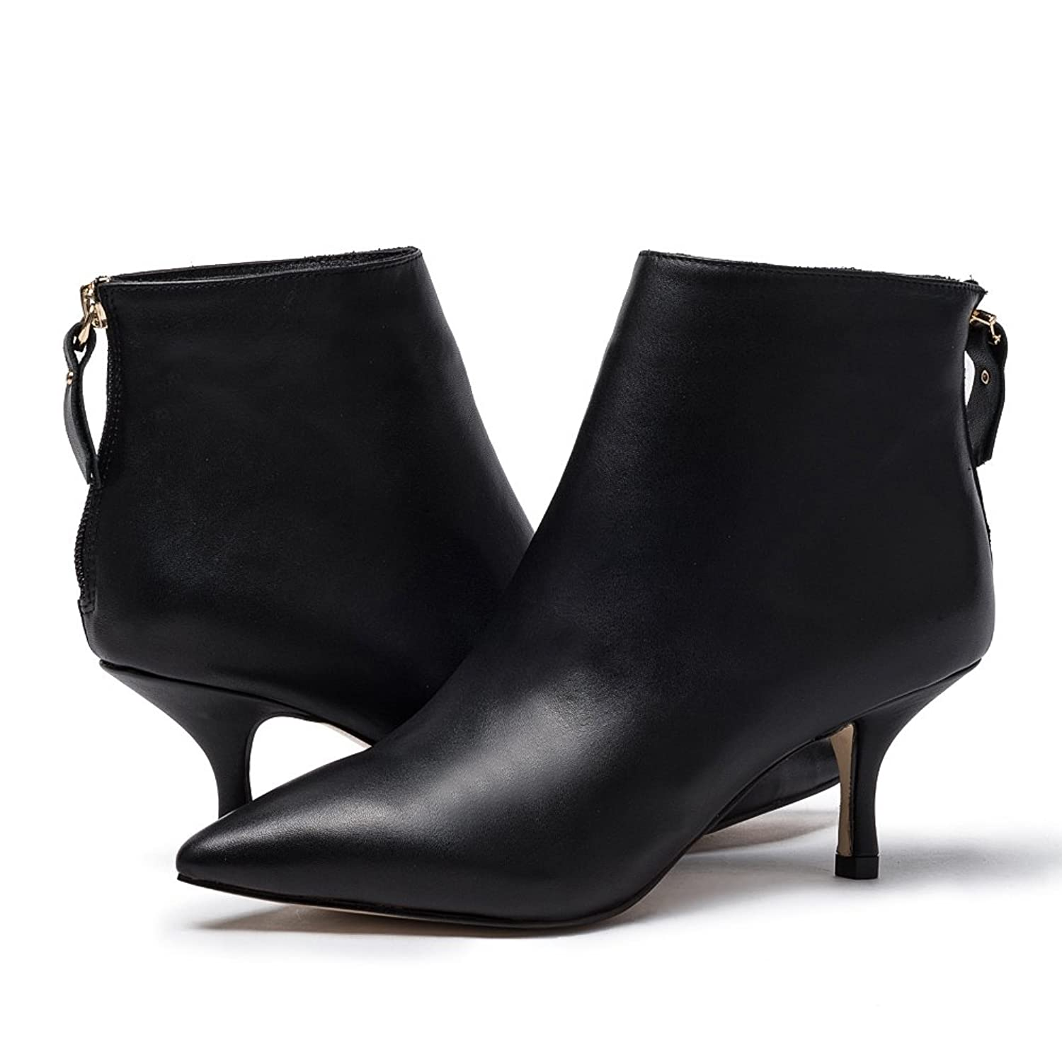 Women's Leather Ankle Boots Sexy Pointed Toe Kitten-heel Zip Shoes Big Size:  Amazon.ca: Shoes & Handbags