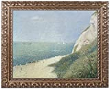 This ready to hang piece in a gold ornate frame features a beach at Bas Butin. Georges Seurat was a French Post-Impressionist painter and draftsman. He is noted for his innovative use of drawing media and for devising the technique of painted known a...