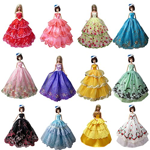 Emorefun 6 PCS Fashion Handmade Clothes Dress for Barbie Doll Style Kids Christmas Gift Color Random
