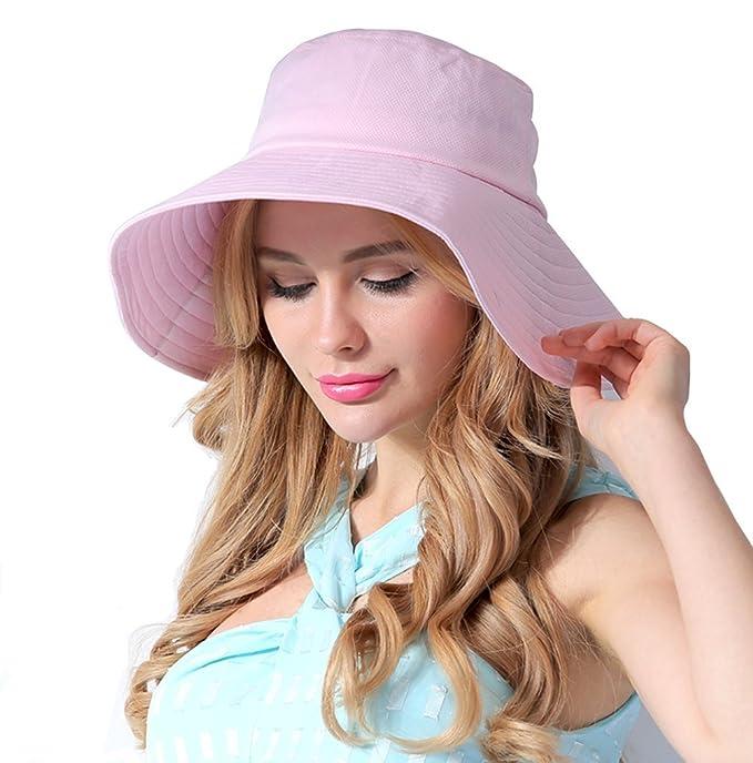 CACUSS Women s UPF 50+ Foldable Summer Bucket Sun Hats Wide Brim Beach  Shade Caps( b1dacbdcde0