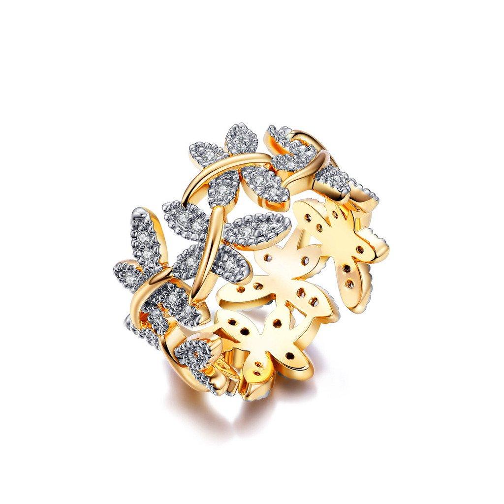 NEWBARK 10 Butterflies 18k Yellow Gold Plated Cubic Zircon Women's Rings Size 6.5