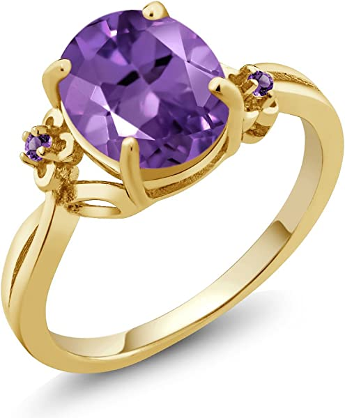 Oval Dainty Purple Amethyst Ring Size 8