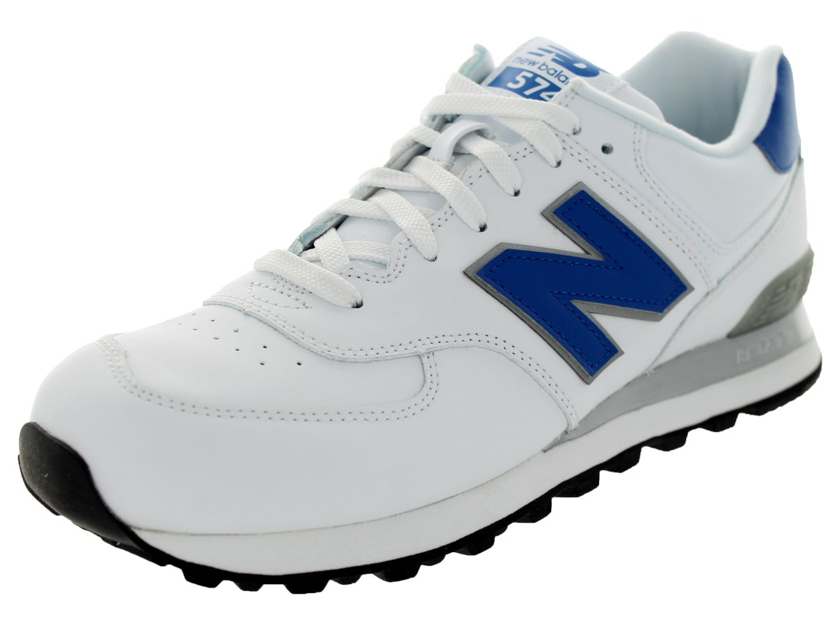 New Balance Men's NB574 Leather Pack Running Shoe B00H2DH9L6 17 D(M) US|White/Blue