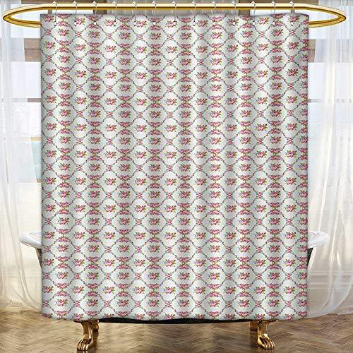(lacencn Wedding,Shower Curtains 3D Digital Printing,Garden of Pink Roses Engagement Themed Floral Arrangement Romantic Feminine Design,Satin Fabric Bathroom Washable,Multicolor,Size:W36 x L72 inch)