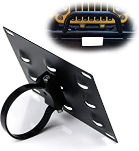 iJDMTOY No Drill Required 3-Inch Bumper Guard Tube Mount License Plate Bracket/Holder