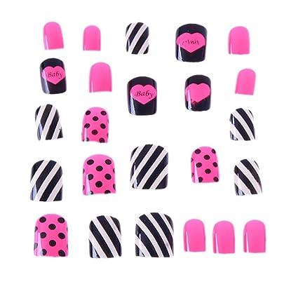 Gowind6 - Set de 24 uñas postizas con diseño de rayas para decoración de uñas