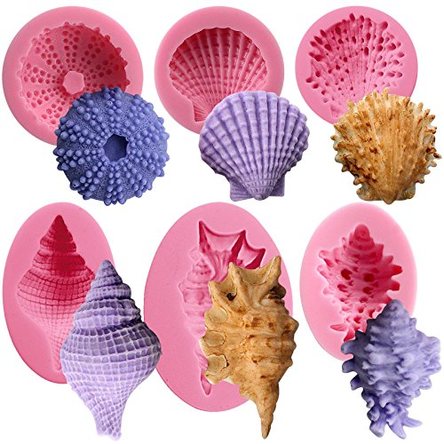 Funshowcase Seashell Sea Urchin Sea Shell Silicone Molds for Sugarcraft, Cake Decoration, Cupcake Topper, Chocolate, Soap Making, Resin Epoxy, Plaster Crafting Projects