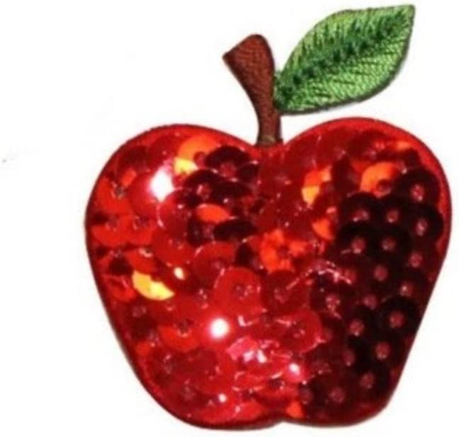 ID 1223F Apple with Sequin Patches Summer Fruit Embroidered Iron On Applique