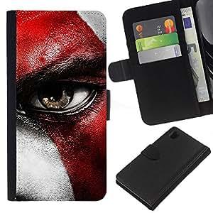 """JackGot ( Dios de la Guerra Crato"""" ) Sony Xperia Z1 L39 la tarjeta de Crédito Slots PU Funda de cuero Monedero caso cubierta de piel"""