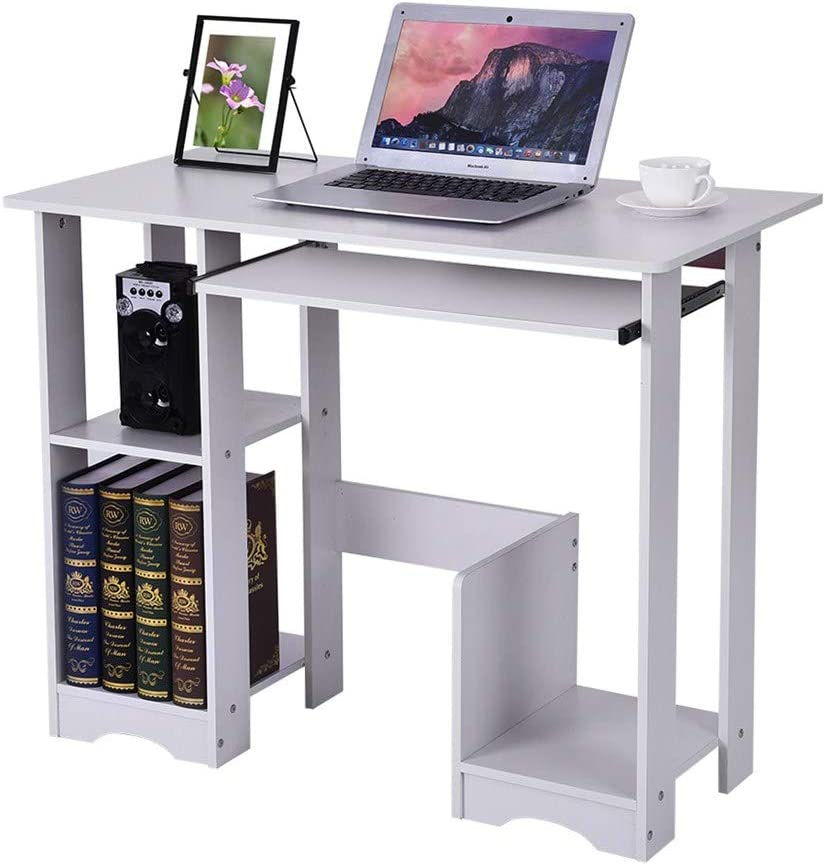Amazon Com Chenjbo Household Computer Desk Modern Minimalist Desk Bedroom Writing Study Desk Table Storage Shelves White Ship From Us Kitchen Dining